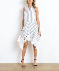 Gray & White Stripe Sleeveless Dress