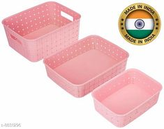 Soap Dishes Fruit Basket Set (3 pieces, Pink) Material: Plastic Pack: Pack of 1 Product Length: 19.5 cm Product Breadth: 11 cm Product Height: 26 cm Country of Origin: India Sizes Available: Free Size   Catalog Rating: ★3.9 (1481)  Catalog Name: Unique Soap Dishes CatalogID_1512845 C132-SC1585 Code: 702-8831296-992