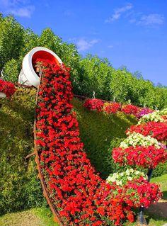 Flowerfall, Miracle Garden, Dubai www.makesellgrow.com #GARDENWORK#IDEA#AMAZAING