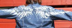 Hand bleached, angel wings, on pre loved womans denim jacket