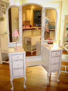 Literally just purchased this piece off Craiglist and can't wait to fix it up and make a beautiful new vanity for my bedroom!