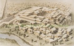 The Minoan capital Knossos, royal palace and residences of nobility in the Middle - Late Bronze Age, around 1500-1200 BC. Island of Crete. Reconstruction based on aerial photo of surviving remains and excavation plans.