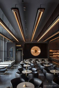 This modern restaurant with a futuristic style is a mix of creativity and luxury. - This modern restaurant with a futuristic style is a mix of creativity and luxury. Interior Design Minimalist, Bar Interior Design, Restaurant Interior Design, Cafe Interior, Design Hotel, Cafe Design, Bathroom Interior Design, Interior Decorating, Design Design