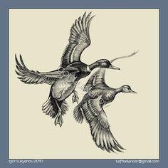 Mallards (wild ducks) illustration, drawing by Igor Lukyanov (cross-hatching) Bird Drawings, Ink Pen Drawings, Tattoo Sketches, Animal Drawings, Duck Hunting Tattoos, Duck Tattoos, Duck Illustration, Illustrations, Art Canard