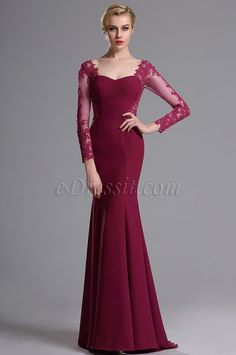 eDressit Vestido de Noche Rojo Larga Mangas de Aplieque(02163912)