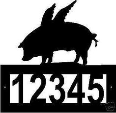Custom FLYING PIG ADDRESS SIGN Steel When Pigs Fly