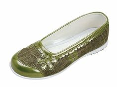 Olive Flower Embroidered Ballet Flat Shoes