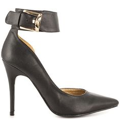 "NWT Black D'Orsay 4"" Pumps Gold Buckle Ankle Cuff Featuring a pointy toe and ankle strap, these sexy stiletto pumps have a personality of their own. Wear them with just about anything, from your fav skinny jeans to a cute dress.  Heel measures approximately 4"" Maker's Shoes Heels"