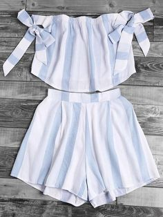 Fabric: Fabric has no stretch Season: Summer Lining: YES Suit Type: Shorts Pattern Type: Striped Color: White, Blue Material: Polyester Neckline: Off the Shoulder Sleeve Length: Sleeveless Style: Casual, Cute, Vacation Decoration: Bow Bust(cm): S:72-104cm, M:76-108cm, L:80-112cm, XL:84-116cm Waist Size(cm): S:58-70cm, M:62-74cm, L:66-78cm, XL:70-82cm Hip Size(cm): S:104cm, M:108cm, L:112cm, XL:116cm Thigh(cm): S:80cm, M:82cm, L:84c...