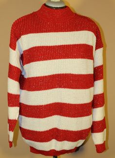 Vintage Woman's Chritmas Red and White Striped Sweater with Metallic Thread, American Pride by ilovevintagestuff on Etsy