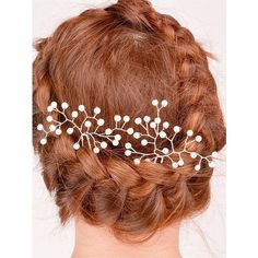 Faux Pearl Alloy Floral Hairpin ($2.01) ❤ liked on Polyvore featuring accessories, hair accessories, floral hair accessories and floral hair pins
