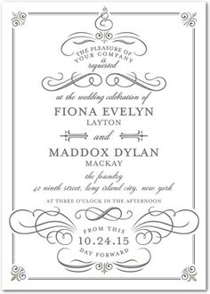 A classic wedding invitation that is part of the Tradition with a Twist collection. Timeless text and delicate designs create an elegant invitation.