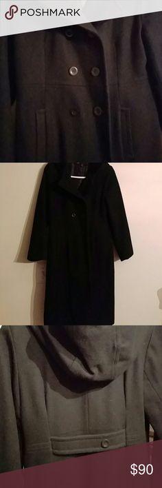 Girl's wool coat Girl's black Stephanie Mathews Kids size 12 wool coat SHELL:100% Wool LINING:100% Polyester TRIM:100% Cotton Jackets & Coats