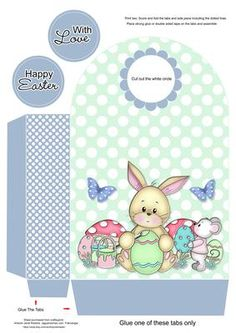 Easter hp gable gift box large free printable pinterest this gift bag goes with my cute egg decorating blue mini kit negle Gallery