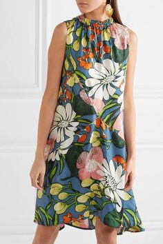 MARNI Floral-print silk dress