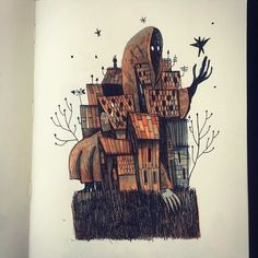 In this #fantasy #sketchbook #illustration by Alfredo (@redolaf) we see an interesting twist on the concept of a haunted town.  When I imagine a town that is haunted I expect that each of the buildings might contain one or a group of ghosts or maybe objects in the street might levitate randomly due to ectokinetic activity in the area or perhaps there might be only a single poltergeist roaming the town going from home to home reeking havoc.  In Alfredos scenario though it appears as though… Haunted Towns, Town Drawing, Fantasy Artwork, Moose Art, Objects, Arts And Crafts, Concept, Illustration, Drawings
