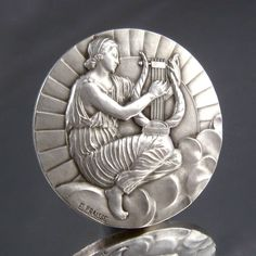 "Vintage french art Deco Silvered Bronze Medal Bas Relief  ""Muse Erato"" Signed 