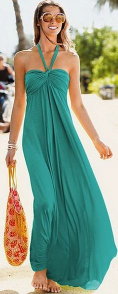 emerald Strapless Maxi Dress