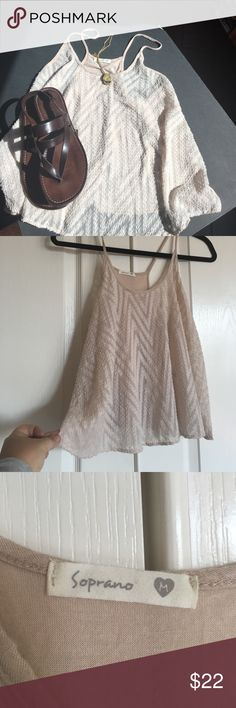 """Soprano blush racerback trapeze top size M Perfect for Spring/Summer!  On trend blush racerback trapeze top by Soprano. Size M. Burnout on front and cotton on back.  Bust 19"""" (loose fit) Soprano Tops Blouses"""