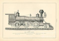 1876 Master Engraving of a Mogul Passenger Steam Engine Locomotive built by the Baltimore & Ohio Railroad and exhibited at the United States International Exhibit