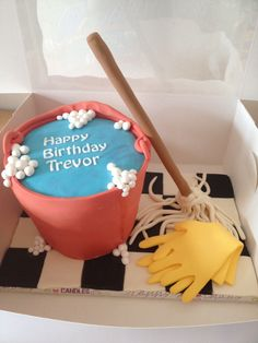 Mop and bucket cake