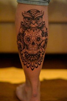 Day of the dead skull in owl