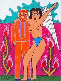Mexican Wrestling and Angel retablo by Aureliano Lorenzo #MexicanFolkArt #MexicanArt
