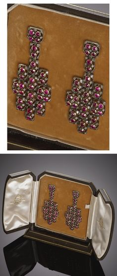 M. BUCCELLATI - A PAIR OF VINTAGE GOLD, SILVER, RUBY AND DIAMOND PENDANT EARRINGS, 1938S. #Buccellati #vintage #earrings