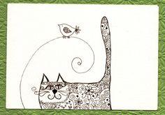Desenho a tinta Gato gorducho e passarinho  original by Coloraudia, $14.00