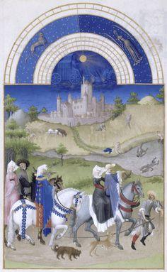 Les_Très_Riches_Heures_du_duc_de_Berry_aout La première représentation tridimensionnelle d'un intérieur au nord des Alpes se trouve dans le livre d'heures de Jeanne d'Évreux du peintre de cour Jean Pucelle, qui fut le premier à introduire en France l'art italien du Trecento. En même temps, il introduit en enluminure la technique de la grisaille, qui sera largement pratiquée durant tout le xive siècle, car reprise par ses élèves comme Jean Le Noir.
