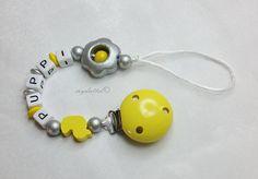 Schnullerkette mit Wunschname Ente Blume myduttel© von myduttel