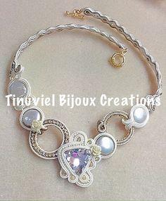 Soutache bridal necklace