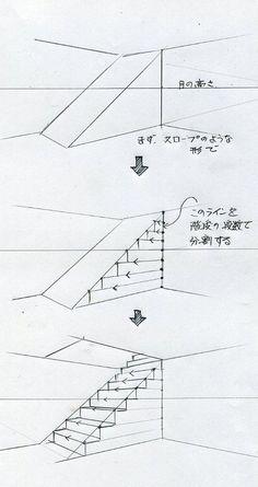 階段の描き方(手描きパースの描き方) l 手描きパースの描き方ブログ、パース講座(手書きパース)