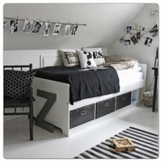 Love the Scandi schic monochrome kids bedroom style? You're going to need this must-have shopping list to get the look. black and white kids bedroom, monochrome nursery, modern home. Teen Boy Rooms, Teenage Room, Girls Bedroom, Bedroom Decor, Teen Boys, Bedroom Ideas, Nursery Ideas, Bedroom Furniture, White Kids Room