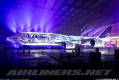 Presentation of the new colour scheme inside the Airbus A380 hangar at Frankfurt Airport. While this would have been an interesting livery, it is of course only the projection of a light show on the otherwise mostly white aircraft. - Photo taken at Frankfurt (FRA / EDDF) in Germany on February 7, 2018.