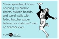 """""""I love spending 4 hours covering my anchor charts, bulletin boards, and word walls before our state test"""" said no teacher ever."""