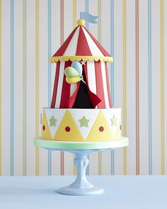 Circus tent project from Party Cakes book which we'll be selling this weekend at #cakeinternationallondon #zoeclarkcakes #circuscake