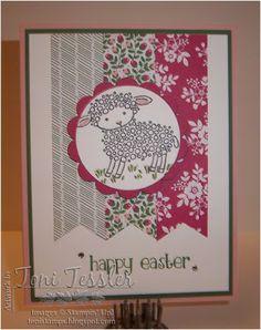 Toni Tessler (tonistamps) Independent Stampin Up Demonstrator.   Easter Lamb, Blushing Bride, Garden Green, Rose Red, Love Blossoms designer series papers, Easter card
