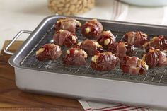 Dress up a plate of appetizers with our Bacon-Wrapped Almond-Stuffed Dates! These Bacon-Wrapped Almond Stuffed Dates are easy to assemble with just four ingredients, including delicious feta cheese. Kraft Foods, Kraft Recipes, Date Recipes, Yummy Appetizers, Appetizer Recipes, Party Appetizers, Party Snacks, Cheese Recipes, Ramadan