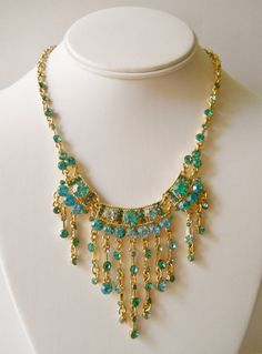 Swarovski Crystal Bib Necklace Crackled Turquoise by LakeBreezes, $39.00