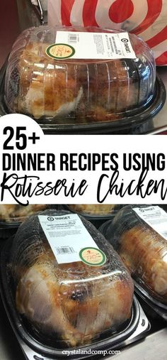 Make dinner super easy by grabbing a rotisserie chicken and using it to make dinner for your family. Have a recipe that calls for cooked chicken? Debone the rotisserie chicken and dinner is done super fast! dinner Dinner Recipes Using Rotisserie Chicken Oven Recipes, Meat Recipes, Easy Dinner Recipes, Easy Meals, Cooking Recipes, Dinner Ideas, Healthy Recipes, Best Dinner Recipes Ever, Recipies