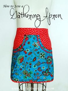 How to Sew a Gathering Apron - Little House Living. Apron with one big pocket for collecting produce.