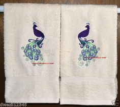 LOVELY PEACOCK - 2 EMBROIDERED HAND TOWELS by Susan                                  1