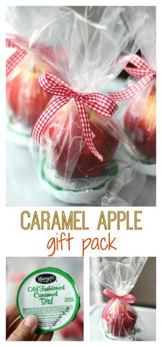Terrific Screen Caramel Apple Dip Gift Pack Tips Caramel apple dip gift pack! A quick and easy gift idea! Wrap up your favorite variety of apple wit Fall Teacher Gifts, Fall Gifts, Teacher Appreciation Gifts, Teacher Tote, Christmas Gifts, Christmas Wrapping, Wrapping Ideas, Caramel Apples, Caramel Dip