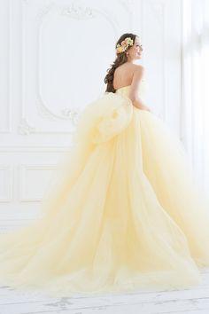イエローのエアリーなカラードレス。ビッグリボンも素敵|SS5591YE