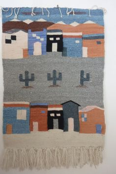Vintage Textile Hand Loomed Rug Wall Hanging South West Design Pueblo and Cactus Design 1980s by ZoomVintage on Etsy