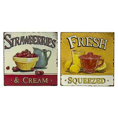 Pair of Strawberries and Lemons Tin Wall Plaque Coastal Cottage, Coastal Decor, Wall Plaques, Wall Signs, Tin Walls, Fresh Cream, Beach Signs, House And Home Magazine, Soft Furnishings