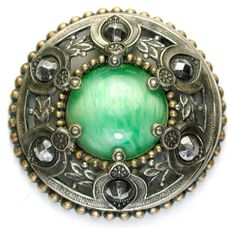 """gorgeous large antique """"gay 90's"""" button with smoky cabochon and cut steels, ca. 1890"""