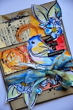 A Fall card with Scribby Birds on Branches...