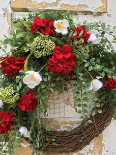 Items similar to SALE- Summer Wreath, Red Geranium Wreath, Front Door Wreath, Spring Wreath, Etsy Wreath on Etsy Wreath Crafts, Diy Wreath, Wreath Burlap, Wreath Ideas, Etsy Wreaths, Spring Front Door Wreaths, Red Geraniums, Summer Wreath, Floral Arrangements